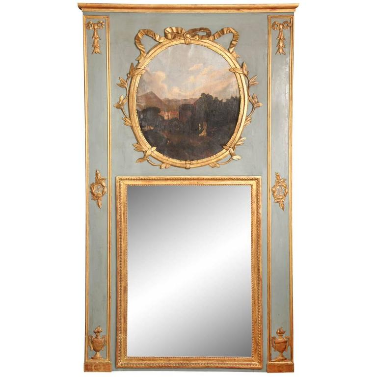 Painted French Louis XVI Style Trumeau Mirror, circa 1840