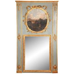 Painted French Louis XVI Style Trumeau Mirror, circa 1840