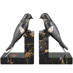French Art Deco Bronze Swallow Bird Bookends by S. Bizard, 1930