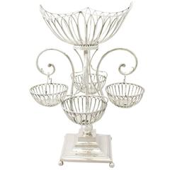 1900s Antique Edwardian Sterling Silver Epergne Centerpiece