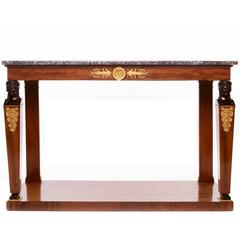Fine Empire Mahogany and Gilt Bronze Mounted Console with a Black Marble Top