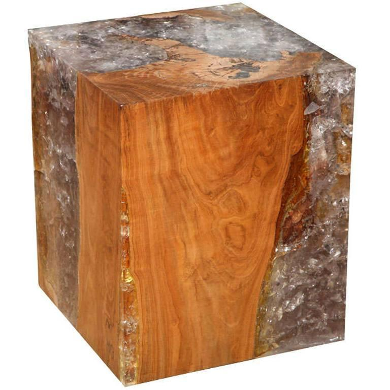 Resin And Teak Wood Cube Table For Sale At 1stdibs