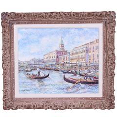 """""""Les Gondoliers De San Marco"""" Painting by Hugues Claude Pissaro"""
