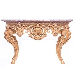 Continental Baroque Style Giltwood Console with a Marble Top