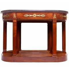 Empire Mahogany Gilt Bronze and Mirror-Backed Console with a Marble Top