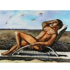 """Natalia Nesterova, """"Sunbathing on Fire Island"""" Oil Painting"""