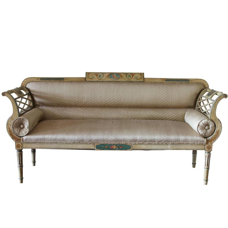 Antique Hand-Painted French Empire Settee