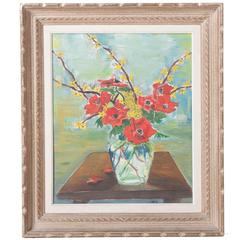 French Framed Floral Oil Painting