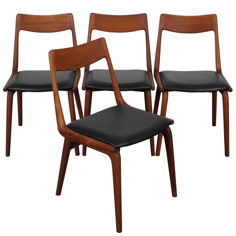 Mid Century Modern Teak Dining Chairs By Erik Christensen