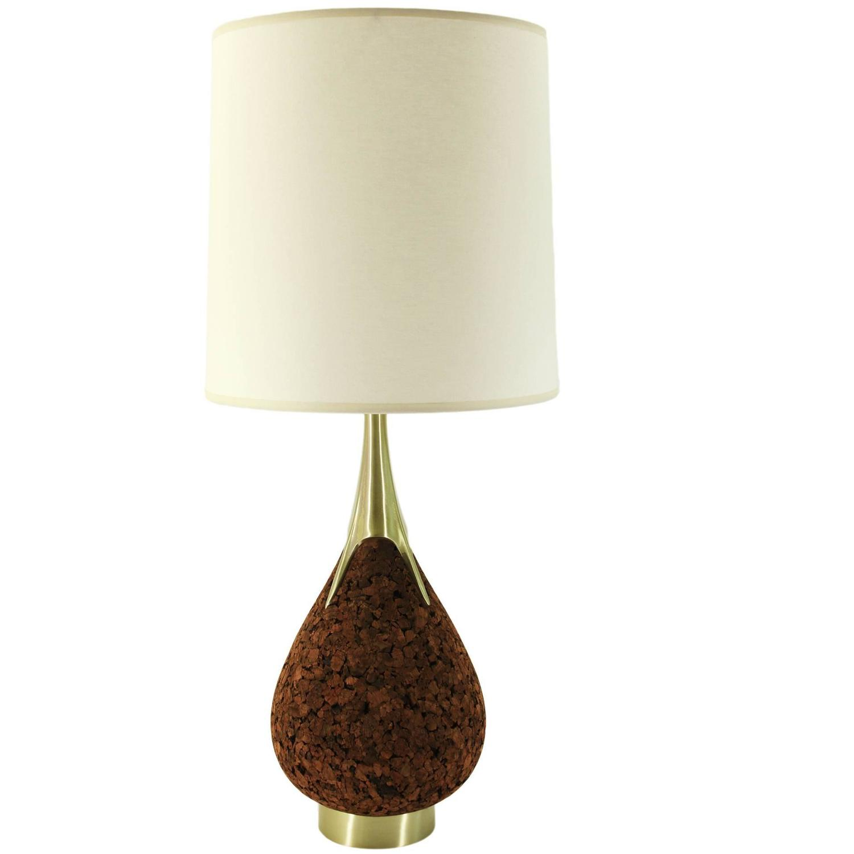 Laurel Mid Century Cork And Brass Teardrop Lamp