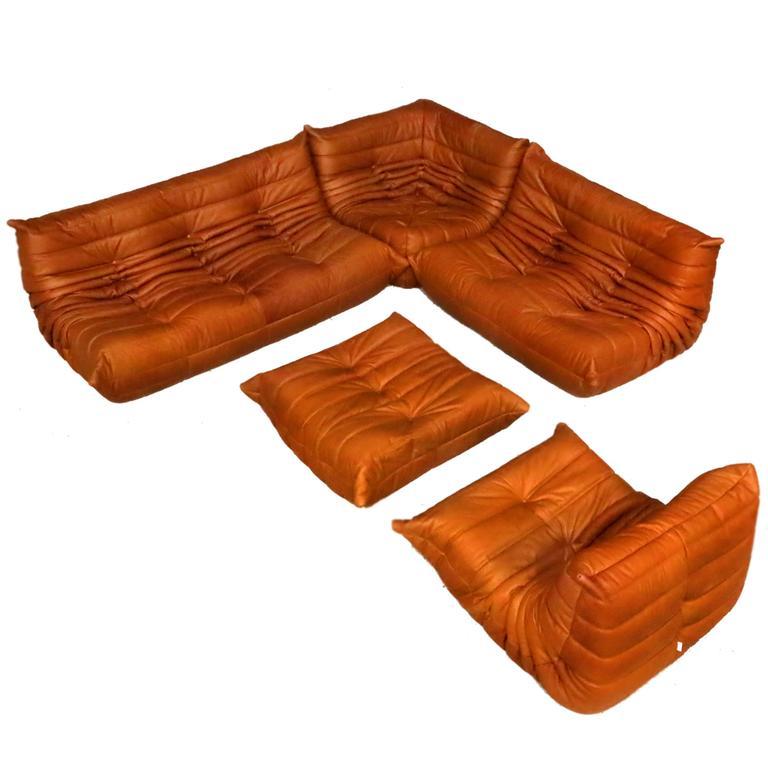cognac leather ligne roset togo sofa set designed by. Black Bedroom Furniture Sets. Home Design Ideas