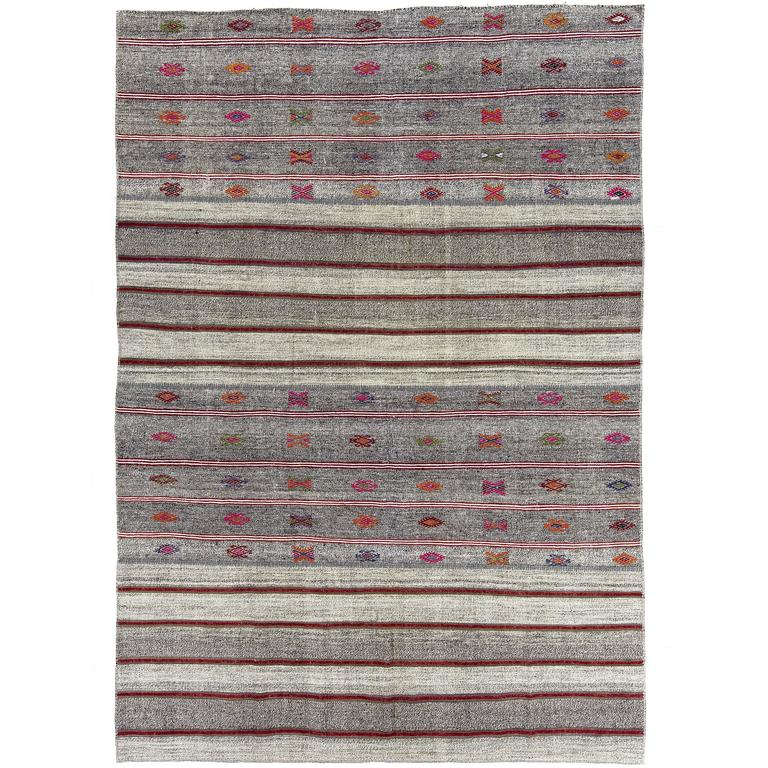 Striped Cotton and Goat Hair Kilim with Colorful Embroidery
