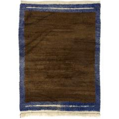 Minimalist Tulu Rug in Brown and Blue