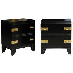 Rare Pair of Widdicomb End Tables or Nightstands Restored in Black Lacquer