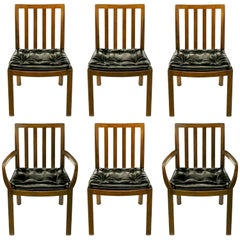 Six Bert England Forward Trend Walnut and Leather Dining Chairs