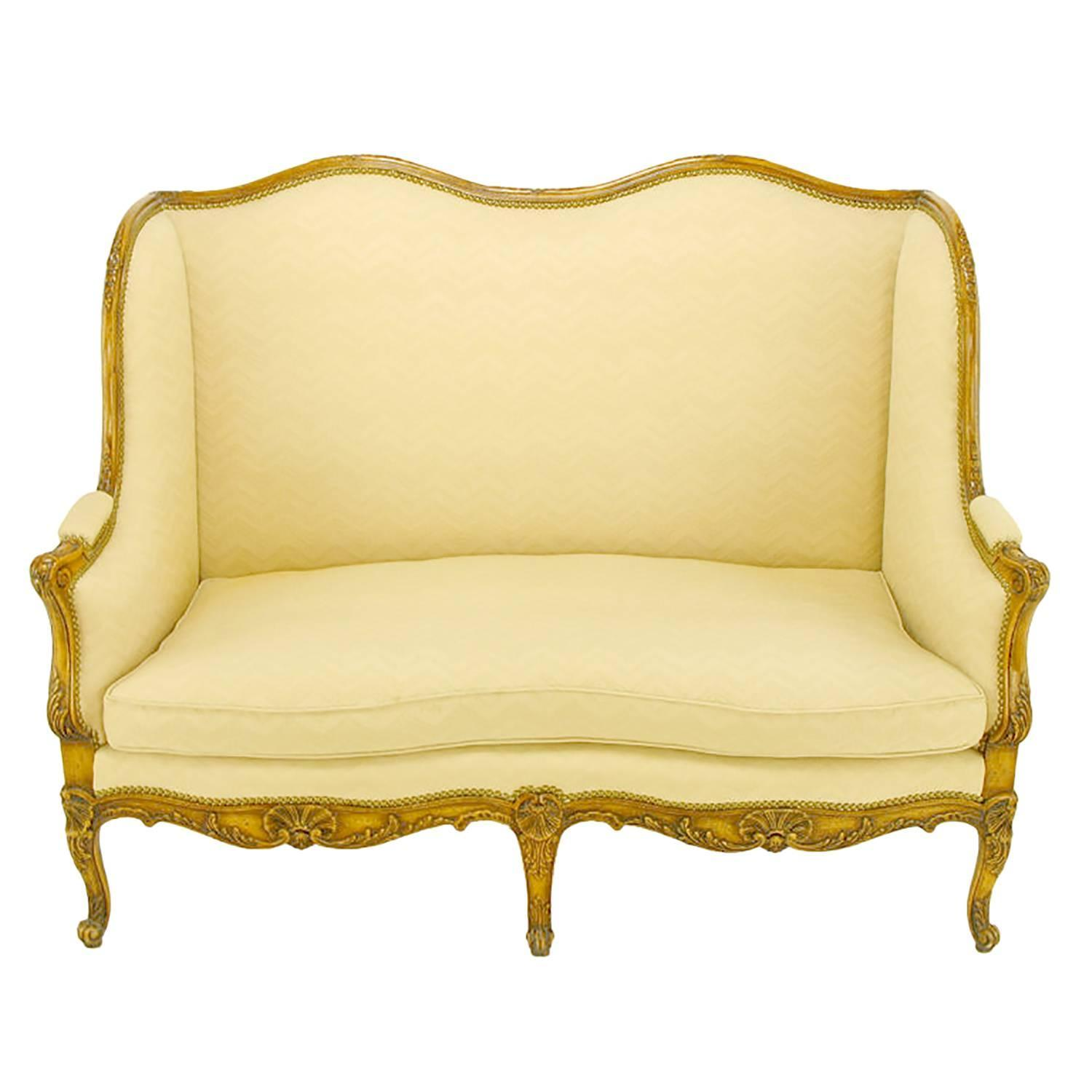 Yale burge louis xv wingback settee for sale at 1stdibs for Settees for sale