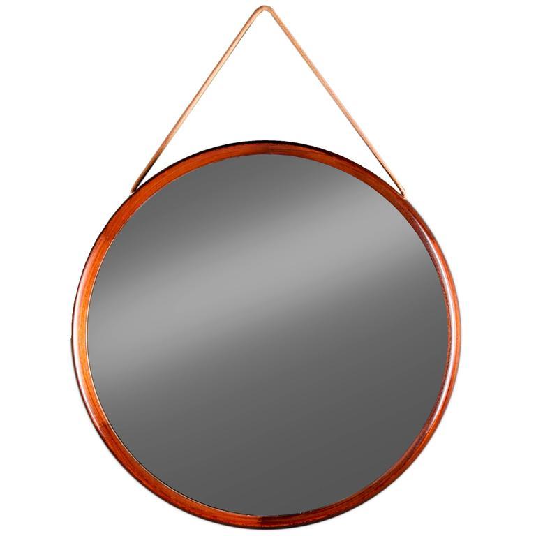 Round Mirror in Rosewood by Uno & ÖSten Kristiansson for Luxus