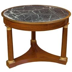 Empire French Center Table in Mahogany with Ormolu and Topped with Tinos Marble
