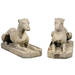 Pair of 20th Century Stone Whippets