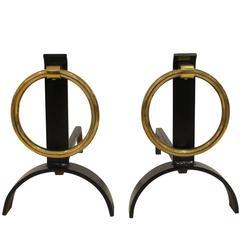 Pair Modernist Brass Ring Andirons