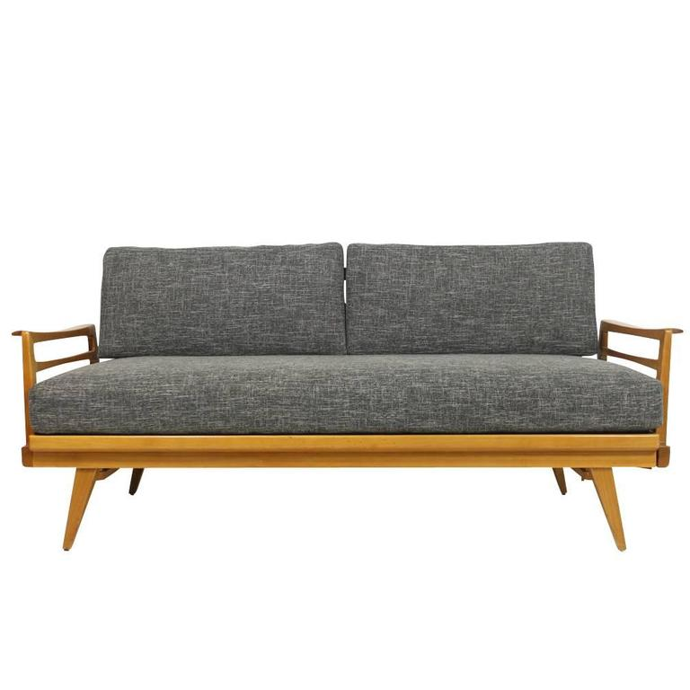 mid century modern sofa knoll antimott beech wood daybed. Black Bedroom Furniture Sets. Home Design Ideas