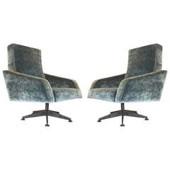Pair of Swivel Lounge Chairs, Italy, 1960s