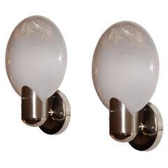 Pair of Sleek Leucos Murano Glass Sconces, Italy, 1960s