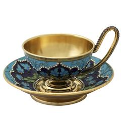 Russian Silver Gilt and Polychrome Cloisonné Enamel Cup and Saucer