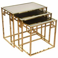 Set of Three Italian Polished Brass & Glass Greek Key Nesting Tables