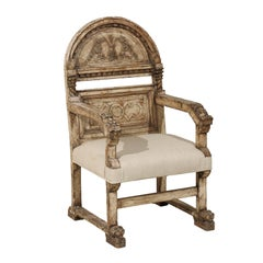 A Stately Italian Richly-Carved Wooden Chair with Elegant Aging, Early 19th C.