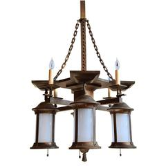 Gas, Electric Mission Chandelier with Original Glass, circa 1910