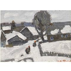 'Winter in Zhelnikha' by Russian Artist Kim Britov, Dated 1973