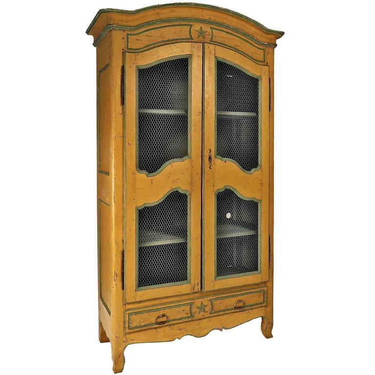 Italian Painted Armoire/Bookcase/Cabinet, circa 1820