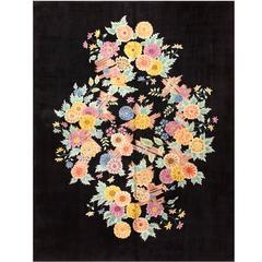 Black Floral Art Deco Chinese Rug