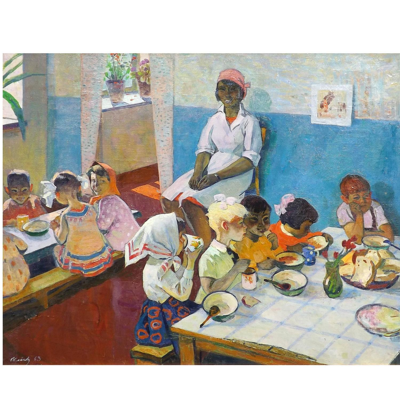 Realism Arts: 'Russian School' Social Realism Painting By Vladimir