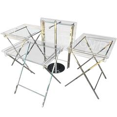Set of Four Lucite & Polished Nickel Serving Trays & Stand, Charles Hollis Jones