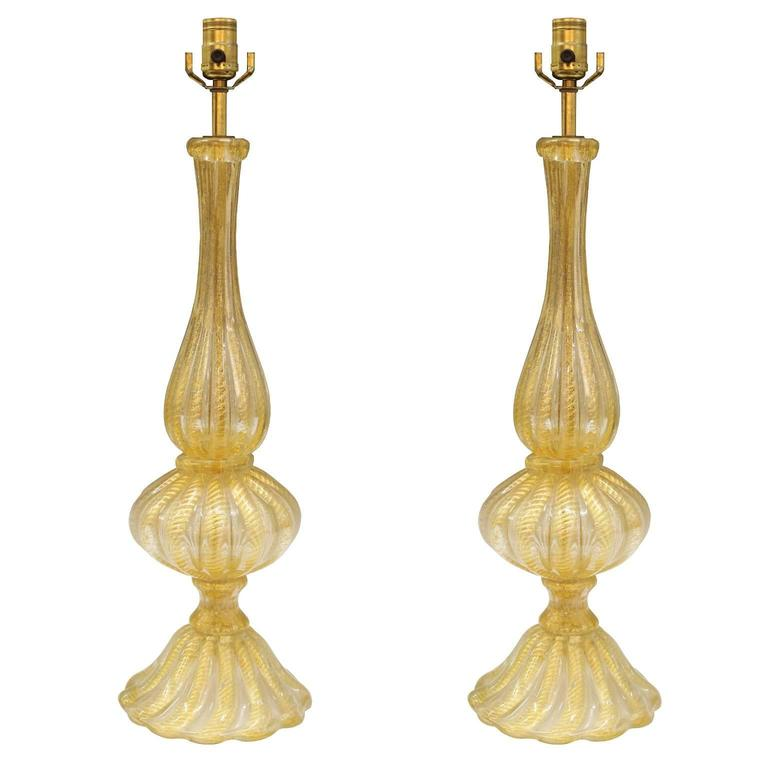 Pair of Barovier and Toso Murano Glass 'Cordonato d'oro' Baluster Lamps