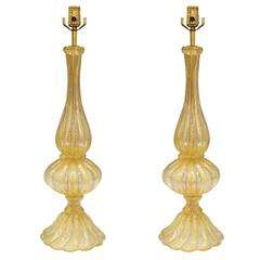 Pair of Barovier and Toso Murano Glass 'Cordonato d'oro' Baluster Lamps