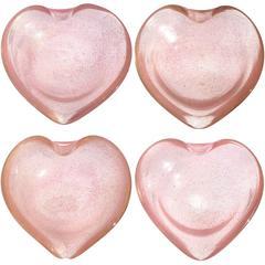 Murano Pink Gold Flecks Italian Art Glass Heart Shaped Bowls, Set of Four