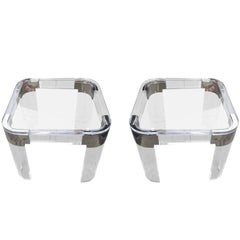 "Pair of Lucite and Nickel Side Tables by Charles Hollis Jones ""Waterfall"" Line"