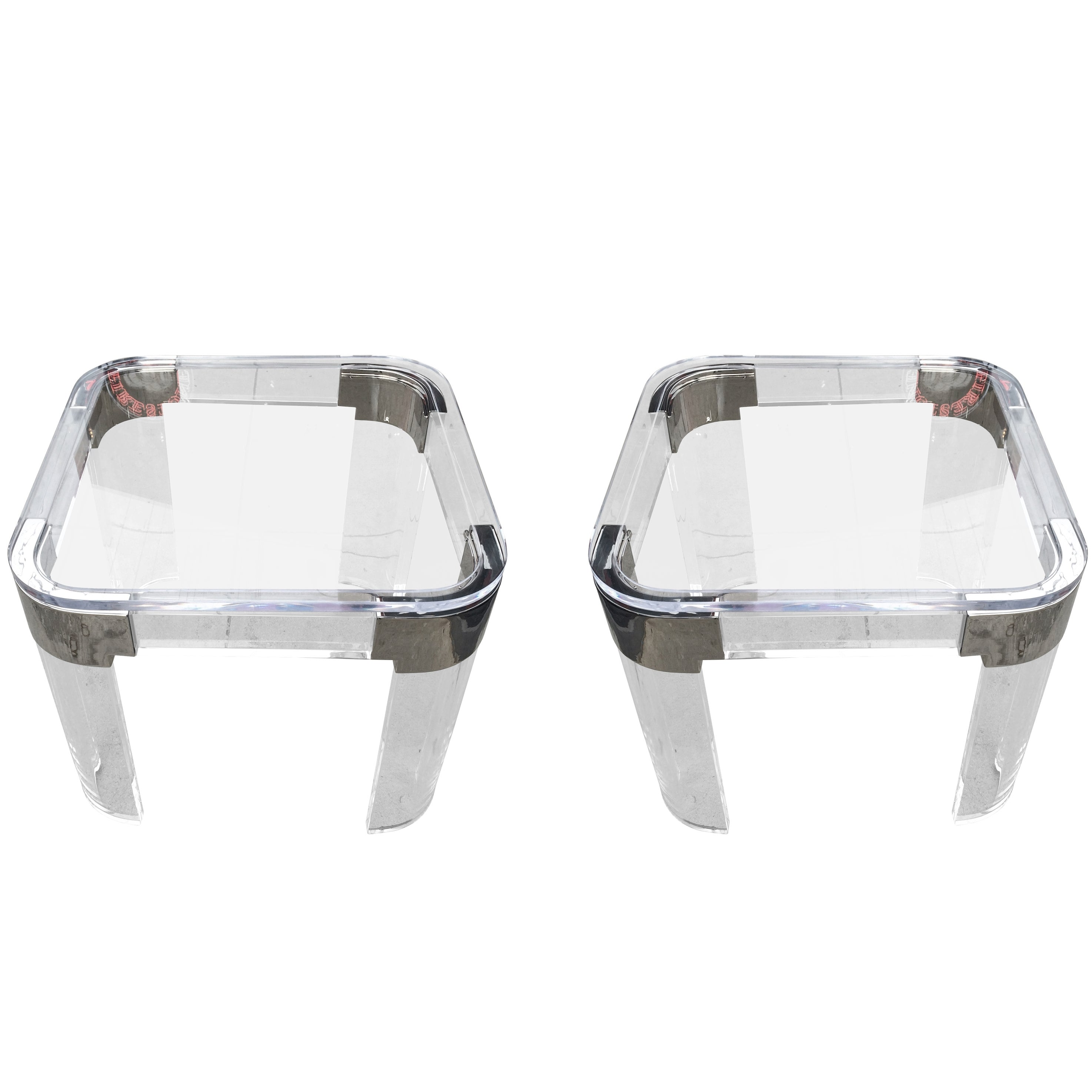 """Pair of Lucite and Nickel Side Tables by Charles Hollis Jones """"Waterfall"""" Line"""