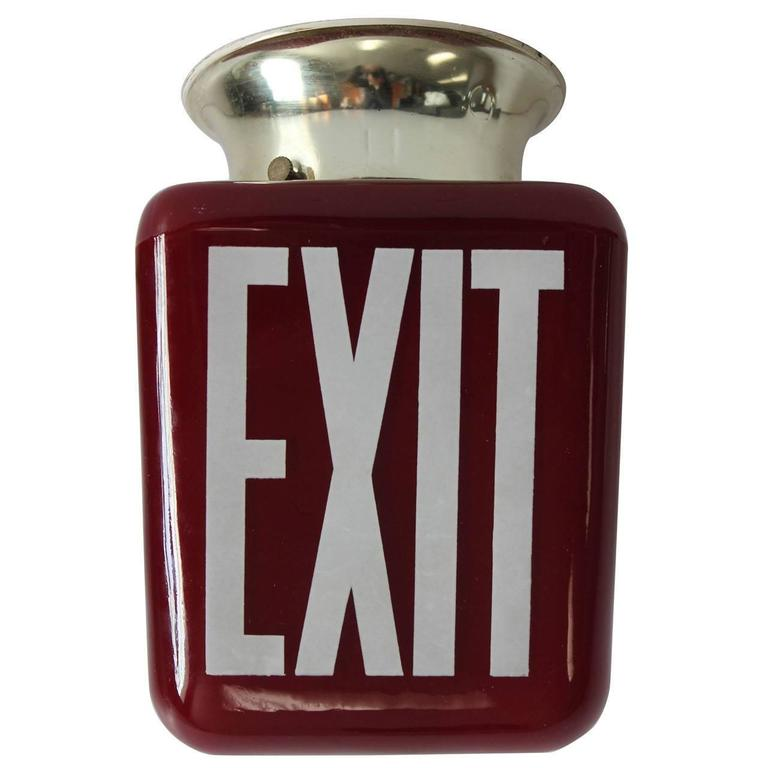 1930s American Double-Sided Ruby Red Exit Light