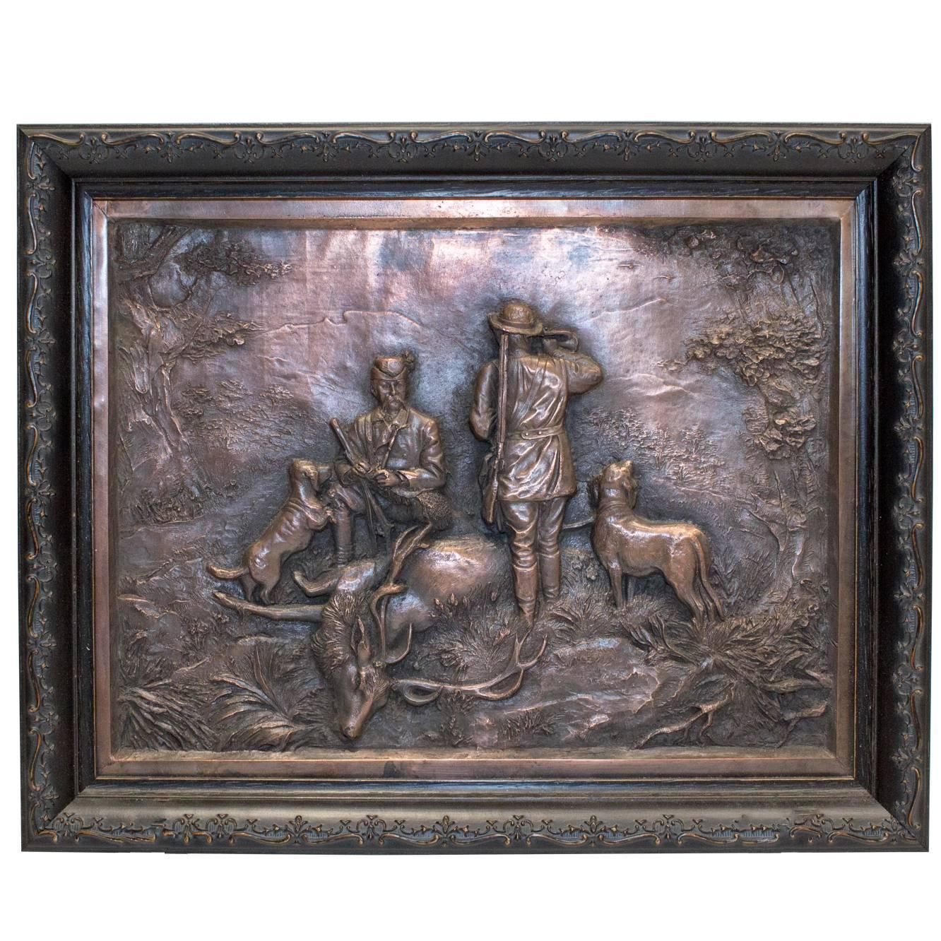 German copper jägermeister bas relief for sale at stdibs