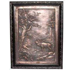 """German Copper Bas Relief """"the King's Stag in Roar"""""""