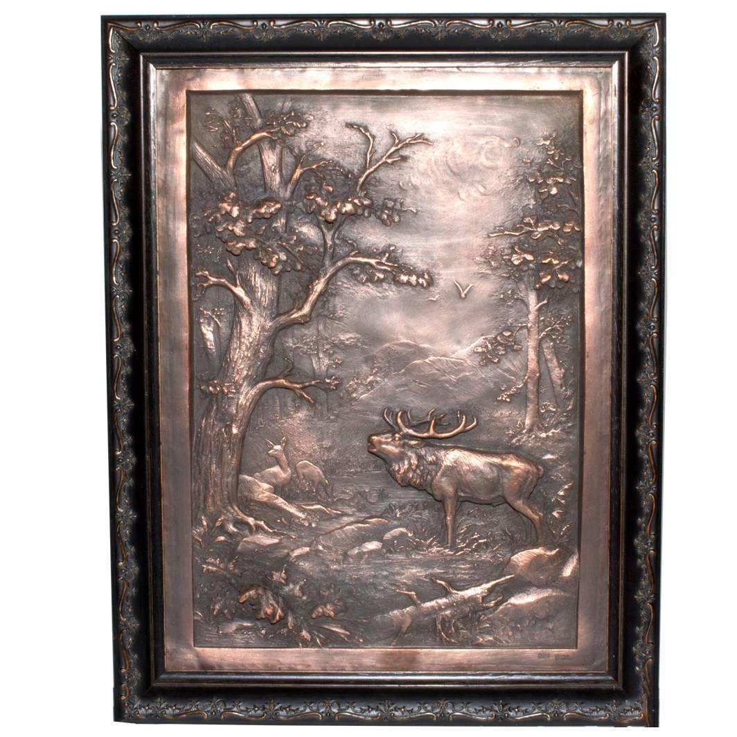 German Copper Bas Relief The King 39 S Stag In Roar For Sale At