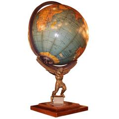 1949 Crams Rare Lit Art Deco Style Terrestrial Table Top Globe