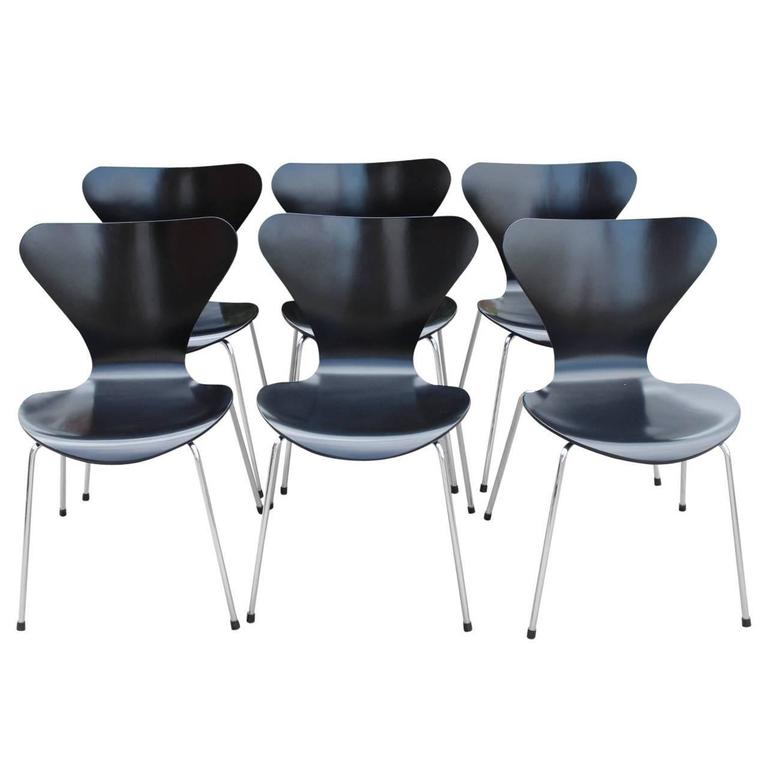six arne jacobsen chairs by fritz hansen model 3107 circa 1960s
