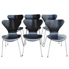 Six Arne Jacobsen Chairs by Fritz Hansen, Model 3107, circa 1960s
