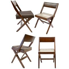 Four Pierre Jeanneret Library Chairs