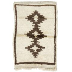 Natural Ivory and Brown Wool Tulu Rug